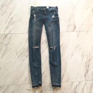 H&M long inseam ripped jeans